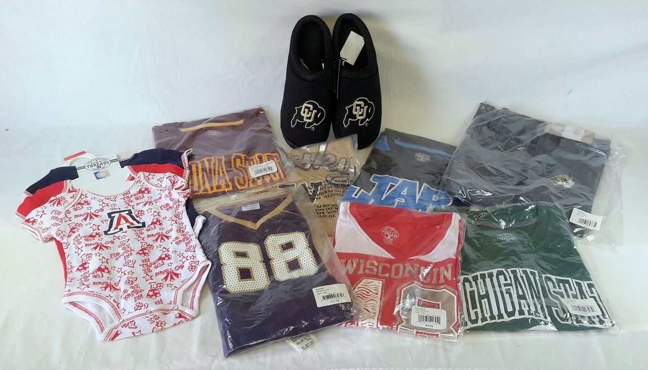 Wholesale Lot of 37 NCAA Sport FAN Gear Apparel Manifested Brand New Overstock