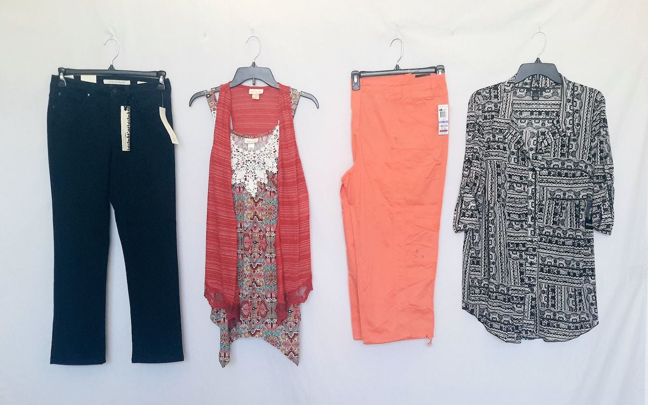 Wholesale Lot of 35 High End Womens Apparel CLOTHING Mixed Brands Sizes Styles New Manifested