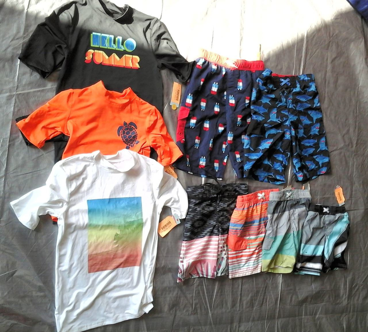 Wholesale Lot of 53 Childrens Boy Swimwear Trunks Rash Guards Brand New