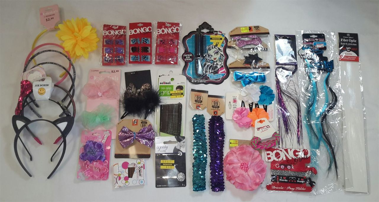 ''Wholesale Lot of Assorted HAIR ACCESSORIES, Brand Name, NEW 50 PCS''