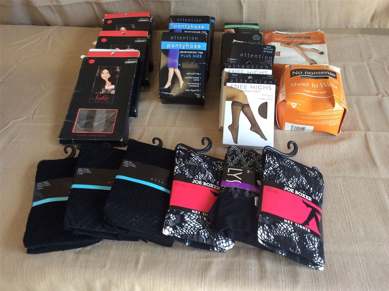 ''Wholesale Lot of Assorted Panty Hose, Knee Highs,Tights Mixed Sized & Brands 45 Pieces''