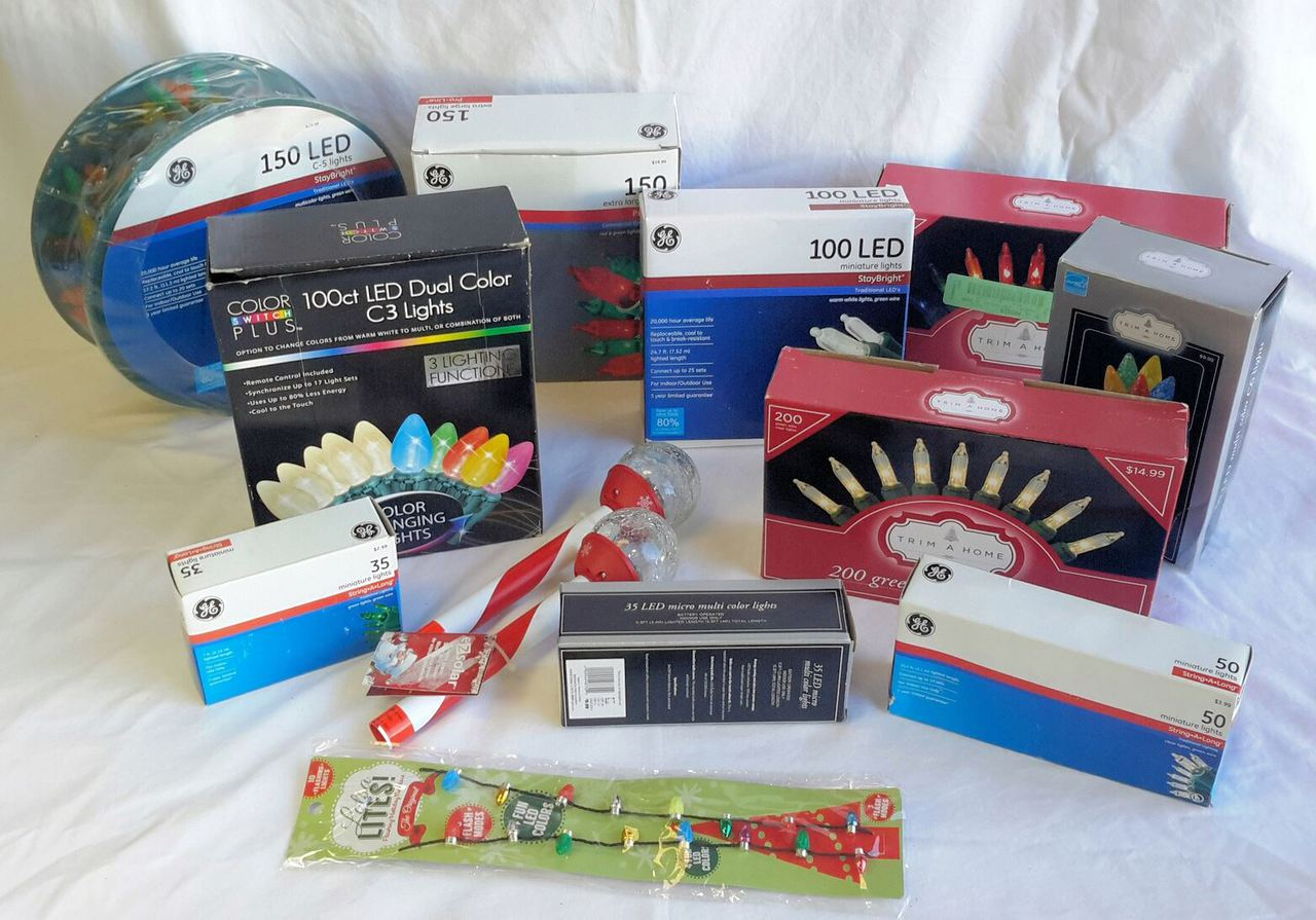 Wholesale Resale Lot of 21 Assorted Packaged Holiday Christmas Lights Brand New LED C-5 SOLAR More