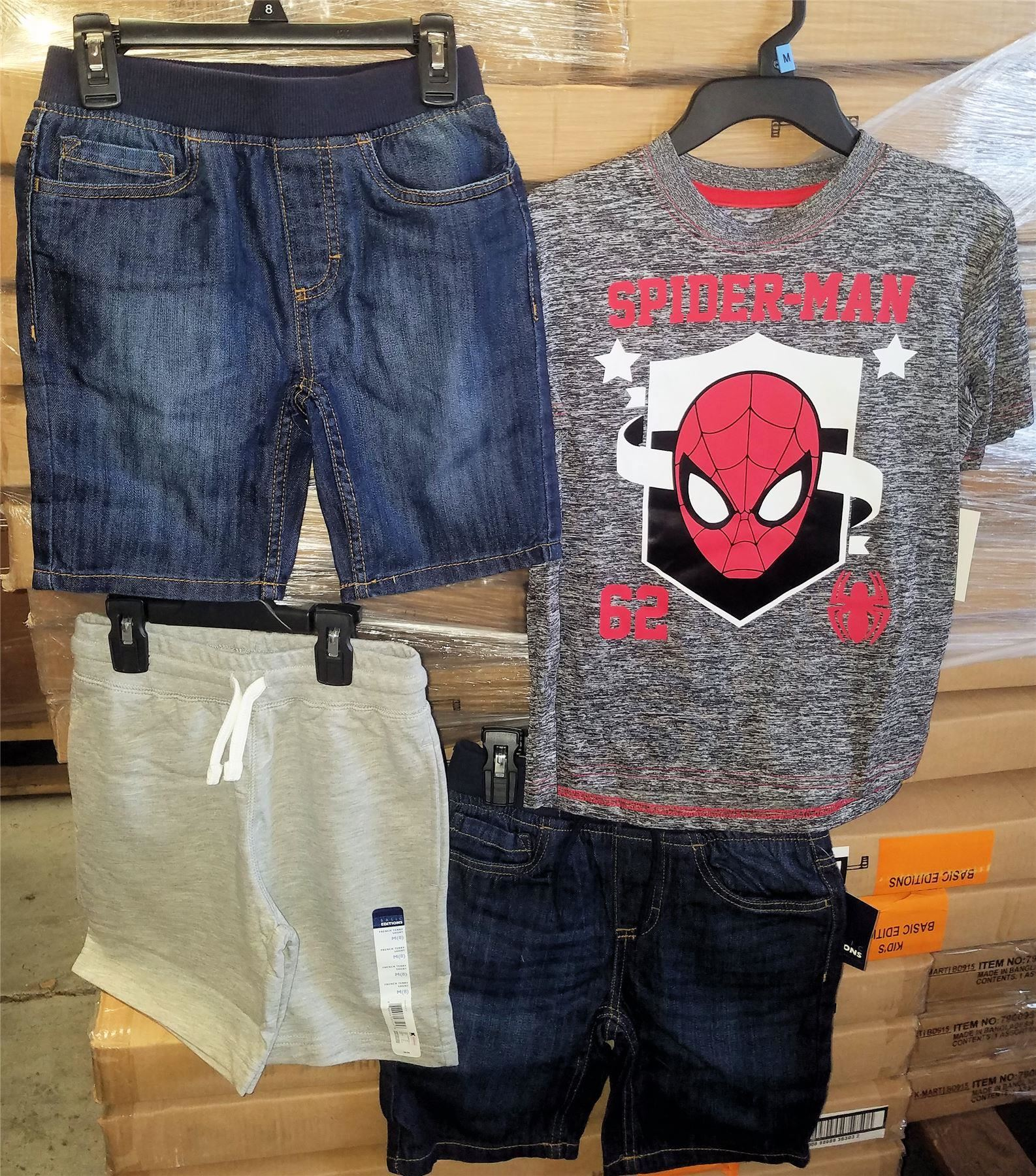 Wholesale Lot of 50 Children Boys CLOTHING Denim Shorts Spiderman Shirts Brand New Overstock Mixed S